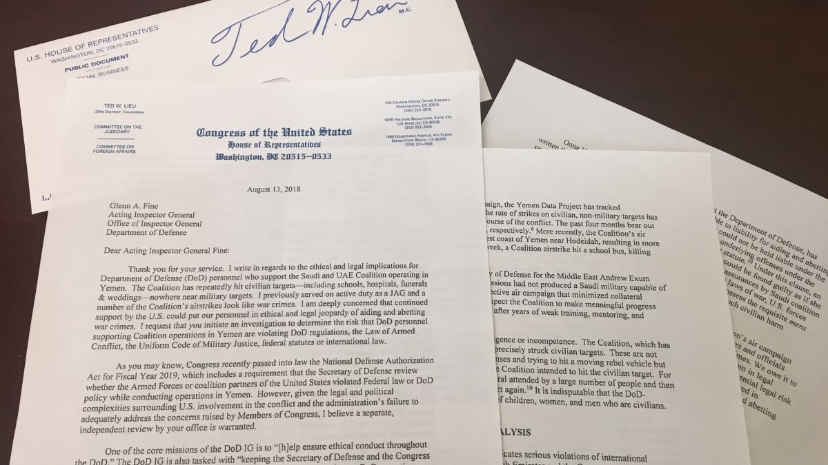 sending a letter to congress rep lieu calls for dod ig investigation into u s in 11006