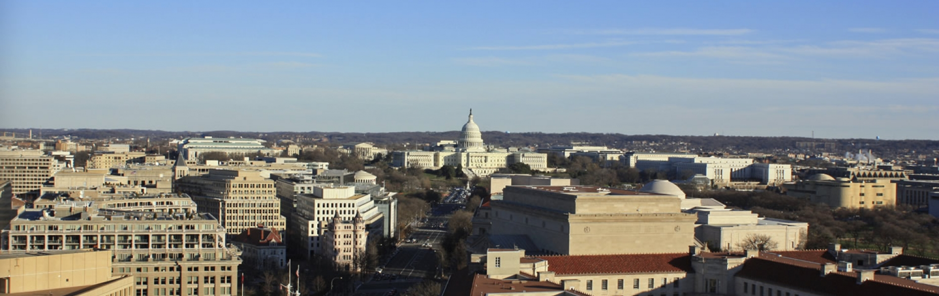 Aerial photo of Washington DC including Capitol Building