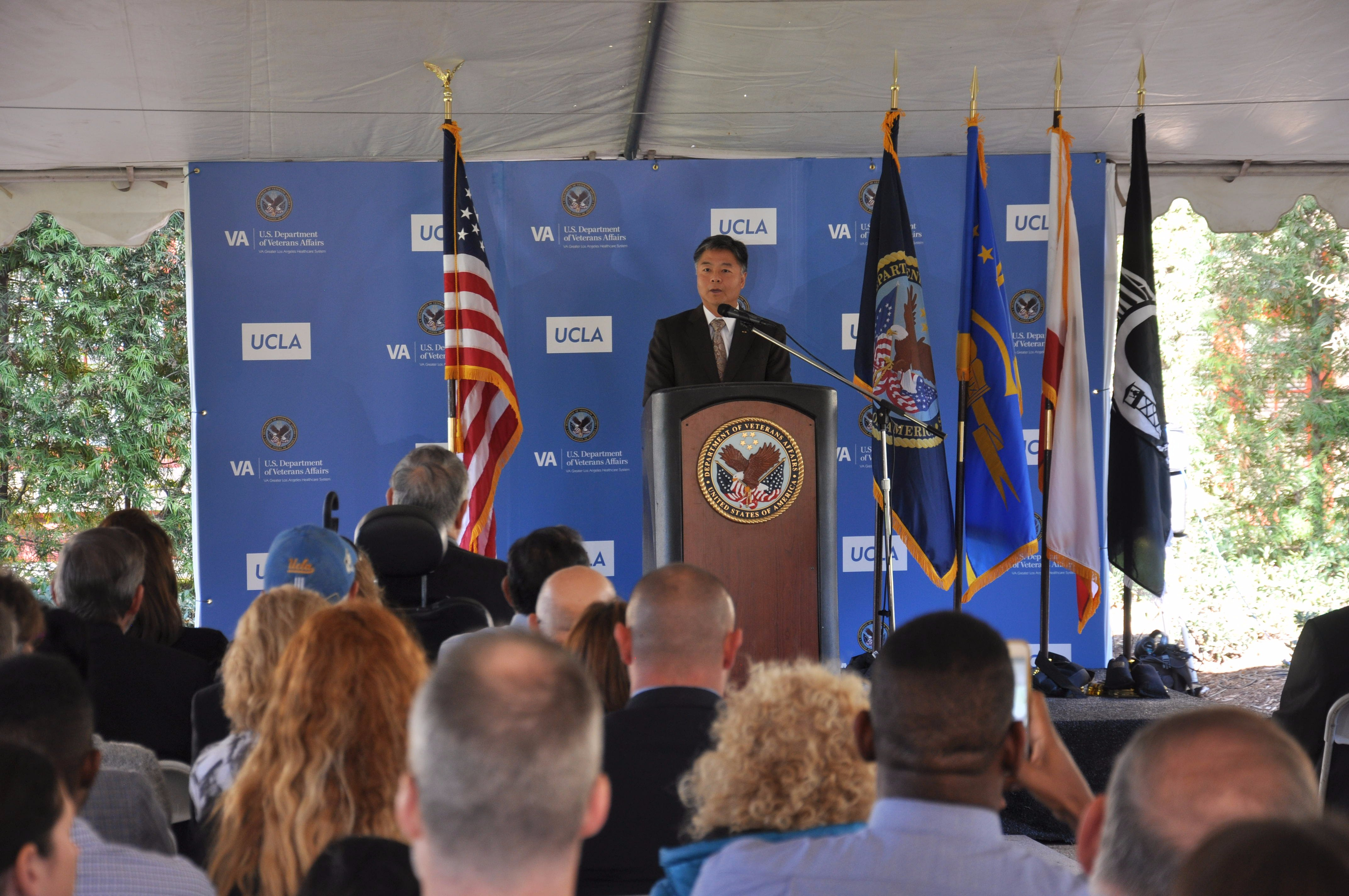 Rep. Lieu speaks before audience at UCLA/VA clinic opening